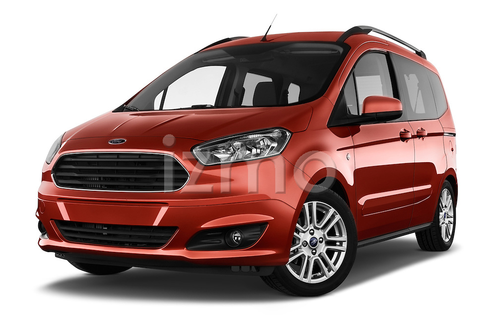 Stock pictures of low aggressive front three quarter view of a 2015 Ford Tourneo Courier Titanium 5 Door Minimpv Low Aggressive