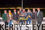 Winner<br /> --------<br /> The Lystoll Lodge nursing home sponsored race last Friday night at the Kingdom Greyhound Stadium,valued at 1500euro was won by 'Itallworksout' pictured were L-R Pat Wallace (trainer) Carmel O'Connor,Paddy&Christine McElligott,Kieran Casey(KGS),Eric O'Connor (Ballyduff) dog owner,Junior O'Connor,John Bradley,and Declan Dowling (KGS)