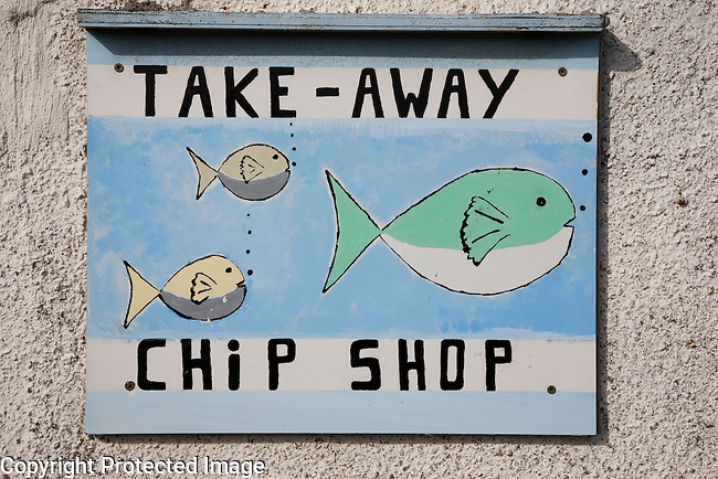 Fish and Chip Take Away Sign on the Isle of Sanday, Orkney Island, Scotland