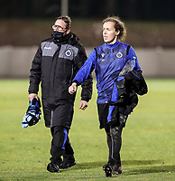 Team delegue Franky Dreypondt of Club Brugge and goalkeeper Elke Geeraert (25) of Club Brugge pictured after the warm up before  a female soccer game between FC Femina White Star Woluwe and Club Brugge YLA on the eleventh matchday of the 2020 - 2021 season of Belgian Scooore Womens Super League , Friday 22 January 2021  in Woluwe , Belgium . PHOTO SPORTPIX.BE   SPP   SEVIL OKTEM