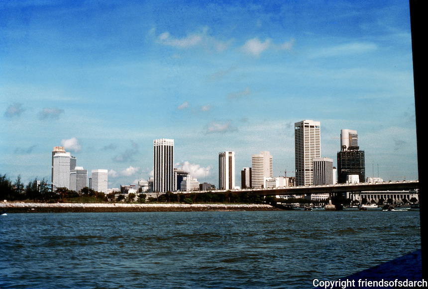 Singapore: High rises, apartments--viewed from ship, downtown. Photo '83.
