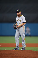 Bradenton Marauders relief pitcher A.J. Schugel (22) gets ready to deliver a pitch during a game against the Charlotte Stone Crabs on August 6, 2018 at Charlotte Sports Park in Port Charlotte, Florida.  Charlotte defeated Bradenton 2-1.  (Mike Janes/Four Seam Images)
