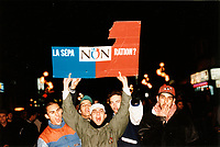 Montreal (QC) CANADA -   October, 1995 File Photo - Partisans of the NON (NO to Quebec separation in the 1995 referendum) demonstrate in the street