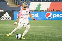 FOXBOROUGH, MA - SEPTEMBER 04: Christian Diaz #27 Forward Madison FC during a game between Forward Madison FC and New England Revolution II at Gillette Stadium on September 04, 2020 in Foxborough, Massachusetts.