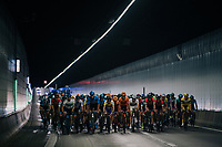 """peloton in the Tijsmans tunnel under the Antwerp harbour<br /> <br /> Antwerp Port Epic 2018 (formerly """"Schaal Sels"""")<br /> One Day Race:  Antwerp > Antwerp (207 km; of which 32km are cobbles & 30km is gravel/off-road!)"""