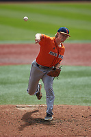 UTSA Roadrunners starting pitcher Pepper Jones (12) delivers a pitch to the plate against the Charlotte 49ers at Hayes Stadium on April 18, 2021 in Charlotte, North Carolina. (Brian Westerholt/Four Seam Images)