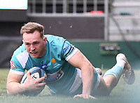 20th March 2021; Recreation Ground, Bath, Somerset, England; English Premiership Rugby, Bath versus Worcester Warriors; Perry Humphreys of Worcester Warriors scores a try