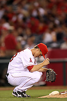 Zack Greinke #23 of the Los Angeles Angels pitches against the Cleveland Indians at Angel Stadium on August 14, 2012 in Anaheim, California. Los Angeles defeated Cleveland 9-6. (Larry Goren/Four Seam Images)