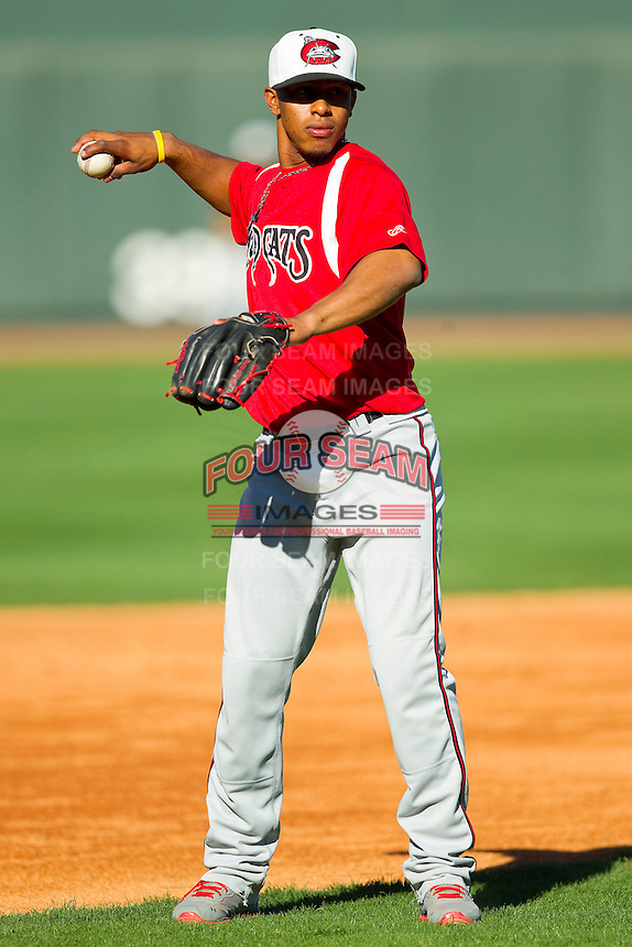 Carolina Mudcats shortstop Francisco Lindor (12) during batting practice prior to the game against the Winston-Salem Dash at BB&T Ballpark on April 13, 2013 in Winston-Salem, North Carolina.  The Dash defeated the Mudcats 4-1.  (Brian Westerholt/Four Seam Images)