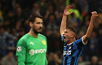 Football Soccer: UEFA Champions League -Group Stage- Group F Internazionale Milano vs Borussia Dortmund, Giuseppe Meazza stadium, October 23, 2019.<br /> Inter's Sebastiano Esposito (r) reacts during the Uefa Champions League football match between Internazionale Milano and Borussia Dortmund at Giuseppe Meazza (San Siro) stadium, on October 23, 2019.<br /> UPDATE IMAGES PRESS/Isabella Bonotto