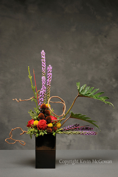 Dramatic flower arrangement by floral artist Tomasi Boselawa