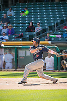 Nick Evans (17) of the Reno Aces at bat against the Salt Lake Bees in Pacific Coast League action at Smith's Ballpark on May 10, 2015 in Salt Lake City, Utah.  Reno defeated Salt Lake 11-2 in Game Two of the double-header. (Stephen Smith/Four Seam Images)