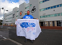 Pictured: Scott McLachlan who is walking to all 92 stadia in the UK. Saturday 13 October 2012<br /> Re: Swansea City FC family day out on the grounds of the Liberty Stadium, south Wales.