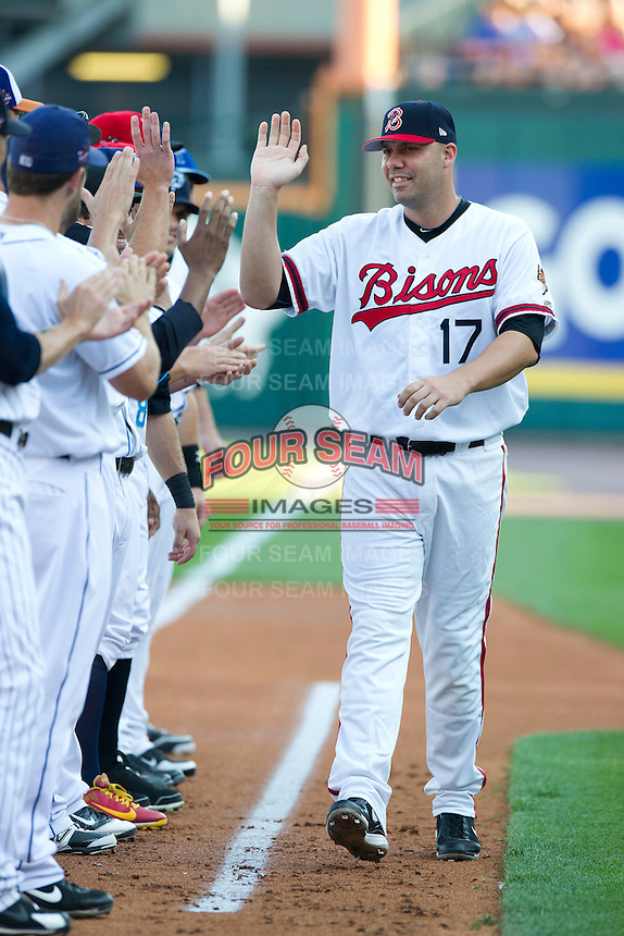 Buffalo Bisons designated hitter Val Pascucci #17 is announced to the crowd before the Triple-A All-Star Game Coca-Cola Field on July 11, 2012 in Buffalo, New York.  The Pacific Coast League defeated the International League 3-0.  (Mike Janes/Four Seam Images via AP Images)