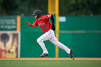 Batavia Muckdogs J.D. Orr (22) running the bases during a NY-Penn League game against the Lowell Spinners on July 11, 2019 at Dwyer Stadium in Batavia, New York.  Batavia defeated Lowell 5-2.  (Mike Janes/Four Seam Images)