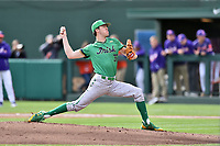 Notre Dame Fighting Irish starting pitcher Peter Solomon (35) delivers a pitch during a game against the Clemson Tigers at Doug Kingsmore Stadium on March 11, 2017 in Clemson, South Carolina. The Tigers defeated the Fighting Irish 6-5. (Tony Farlow/Four Seam Images)