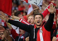 An Austria fan cheers on his team during the FIFA World Cup Qualifier Group D match between Wales and Austria at The Cardiff City Stadium, Cardiff, Wales, UK. Saturday 02 September 2017