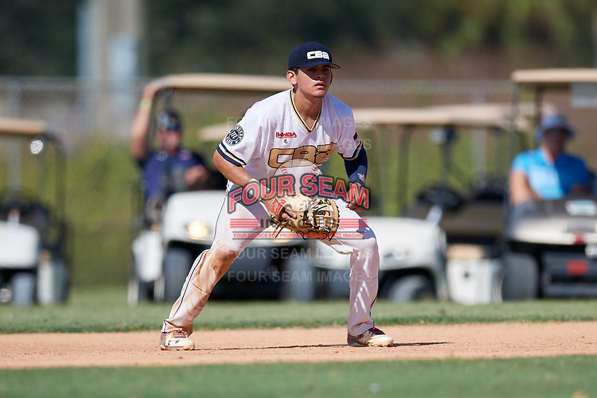 Joseph Naranjo during the WWBA World Championship at the Roger Dean Complex on October 21, 2018 in Jupiter, Florida.  Joseph Naranjo is a left handed pitcher / first baseman from Chino, California who attends Ruben S. Ayala High School and is committed to Cal State Fullerton.  (Mike Janes/Four Seam Images)