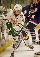 20 January 2017: University of Vermont Catamount Forward Mario Puskarich, a Senior from Fort Walton Beach, FL, in second period action against the University of Connecticut Huskies at Gutterson Fieldhouse in Burlington, Vermont. The Catamounts held onto their lead throughout the game to defeat the Huskies 5-4 in Hockey East play. Mandatory Credit: Ed Wolfstein Photo *** RAW (NEF) Image File Available ***
