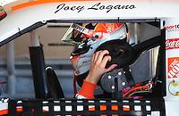 Feb 07, 2009; Daytona Beach, FL, USA; NASCAR Sprint Cup Series driver Joey Logano reacts during practice for the Daytona 500 at Daytona International Speedway. Mandatory Credit: Mark J. Rebilas-