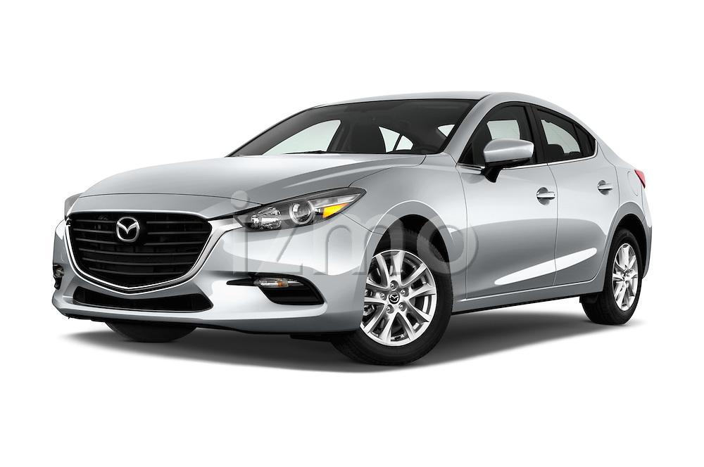 Stock pictures of low aggressive front three quarter view of 2018 Mazda Mazda3 Sport 4 Door Sedan Low Aggressive