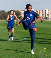 ORLANDO, FL - JANUARY 21: Catarina Macario #29 of the USWNT warms up during a training session at the practice fields on January 21, 2021 in Orlando, Florida.