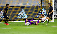 LOS ANGELES, CA - SEPTEMBER 23: Pablo Sisniega #23 GK of the LAFC comes up with a save during a game between Vancouver Whitecaps and Los Angeles FC at Banc of California Stadium on September 23, 2020 in Los Angeles, California.
