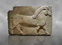 Phrygian relief sculpted orthostat stone panel. Andesite, Kucukevler, Ankara., 1200-700 B.C.  Walking horse. Muscles in the legs of the figure are schematic. Anatolian Civilisations Museum, Ankara, Turkey<br /> <br /> Against a grey art background.