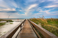 One of many boardwalks at Jacksonville beach on a beautiful sunny morning.