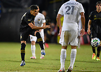LAKE BUENA VISTA, FL - JULY 18: Mohamed El-Munir #13 of LAFC shoots and scores during a game between Los Angeles Galaxy and Los Angeles FC at ESPN Wide World of Sports on July 18, 2020 in Lake Buena Vista, Florida.