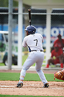 GCL Rays right fielder Moises Gomez (7) at bat during the first game of a doubleheader against the GCL Red Sox on August 9, 2016 at JetBlue Park in Fort Myers, Florida.  GCL Rays defeated GCL Red Sox 5-4.  (Mike Janes/Four Seam Images)