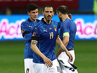 Footbal Soccer: FIFA World Cup Qatar 2022 Qualification, Italy - Northern Ireland, Ennio Tardini stadium, Parma, March 26, 2021.<br /> Italy's Leonardo Bonucci celebrates with his teammates after winning 2-0 the FIFA World Cup Qatar 2022 qualification, football match between Italy and Northern Ireland, at Ennio Tardini stadium in Parma on March 26, 2021.<br /> UPDATE IMAGES PRESS/Isabella Bonotto