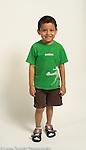 6 year old boy portrait full length white background