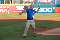 Radio announcer Duke McGuire, who had a role in the movie The Natural, throws out the ceremonial first pitch before a Buffalo Bisons International League game against the Syracuse Mets on June 29, 2019 at Sahlen Field in Buffalo, New York.  Buffalo defeated Syracuse 9-3.  (Mike Janes/Four Seam Images)