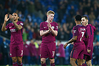 Kevin De Bruyne of Manchester City joins Danilo in applauding the away fans after the final whistle of the Fly Emirates FA Cup Fourth Round match between Cardiff City and Manchester City at the Cardiff City Stadium, Wales, UK. Sunday 28 January 2018
