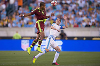 Action photo during the match Uruguay vs Venezuela at Lincoln Financial Field Stadium Copa America Centenario 2016. ---Foto  de accion durante el partido Uruguay vs Venezuela, En el Estadio Lincoln Financial Field Partido Correspondiante al Grupo - C -  de la Copa America Centenario USA 2016, en la foto: (i)(d) Salomon Rondon, Diego GOdin<br /> --- 09/06/2016/MEXSPORT/Osvaldo Aguilar.