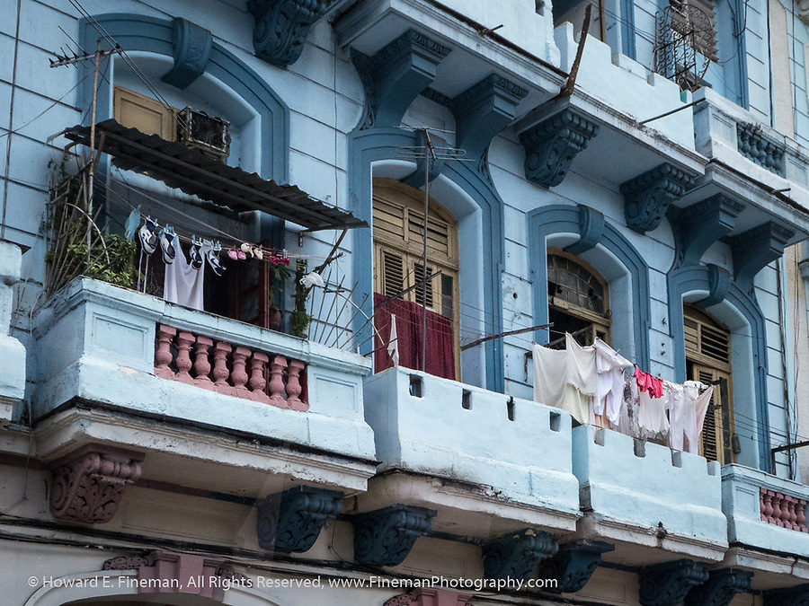Drying laundry on a balcony in old Havana