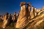 Basalt caps on eroded tufa columns, Cappadocia, Turkey