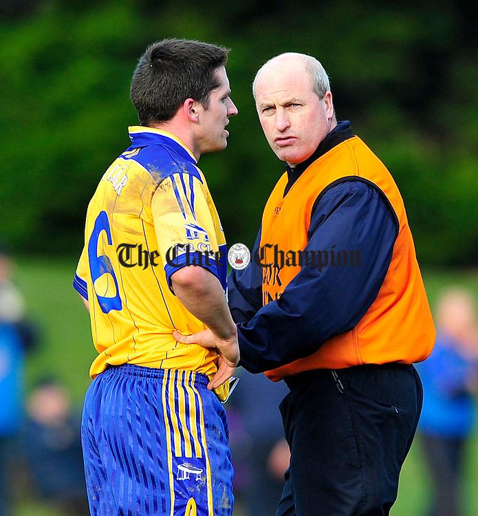 Clare v Tipperary Division 4 Round 2 football league at Ardfinnan co Tipperary.Pic Arthur Ellis...Kieran Kelleher and Gordon Kelly