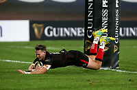 Sunday 22nd November 2020 | Ulster vs Scarlets<br /> <br /> Stewart Moore dives over to score Ulster's second try  during the Guinness PRO14 Round 7 clash between Ulster Rugby and Scarlets at Kingspan Stadium, Ravenhill Park, Belfast, Northern Ireland. Photo by John Dickson / Dicksondigital
