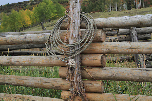 Cowboy's rope lasso hangs on fence in the San Juan Mountains near Telluride, Colorado.