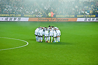 Thursday  03 October  2013  Pictured: Swansea City Pre-Match Huddle <br /> Re:UEFA Europa League, Swansea City FC vs FC St.Gallen,  at the Liberty Staduim Swansea
