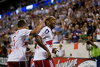 Thierry Henry (14) celebrates his goal with teammate Seth Stammler (6) of the New York Red Bulls during the Barclays New York Challenge at Red Bull Arena in Harrison, NY.  Tottenham defeated the New York Red Bulls, 2-1.
