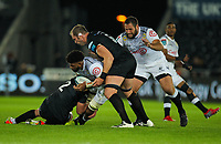 8th October 2021;  Swansea.com Stadium, Swansea, Wales; United Rugby Championship, Ospreys versus Sharks; Hyron Andrews of Cell C Sharks is tackled by Sam Parry and Alun Wyn Jones of Ospreys