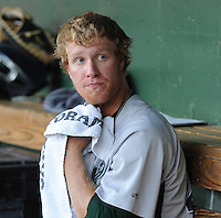 Starting pitcher Mike Foltynewicz (25) of the Lexington Legends cools off in the dugout during a game against the Greenville Drive on May 2, 2012, at Fluor Field at the West End in Greenville, South Carolina. Foltynewicz is the No. 9 prospect for the Astros, according to Baseball America.(Tom Priddy/Four Seam Images)