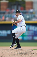Charlotte Knights relief pitcher Carson Fulmer (19) in action against the Indianapolis Indians at BB&T BallPark on August 22, 2018 in Charlotte, North Carolina.  The Indians defeated the Knights 6-4 in 11 innings.  (Brian Westerholt/Four Seam Images)