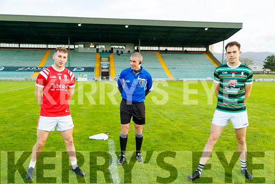 Dan O'Donoghue (Captain), East Kerry and Jack Barry, (Captain) St. Brendan's Board before the Kerry County Senior Football Championship Semi-Final match between East Kerry and St Brendan's at Austin Stack Park in Tralee, Kerry.