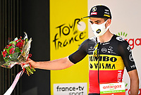 11th July 2021, Ceret, Pyrénées-Orientales, France; Tour de France cycling tour, stage 15, Ceret to  Andorre-La-Vieille;  VAN AERT Wout (BEL) of JUMBO - VISMA pictured with the Antargaz price during the podium ceremony during stage 15 of the 108th edition of the 2021 Tour de France cycling race, a stage of 191,3 kms between Ceret and Andorre-La-Vieille.