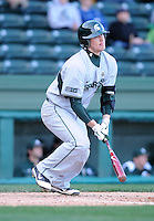 Infielder Andrew Carpenter (12) of the Michigan State Spartans in a game against the Furman Paladins on February 25, 2012, at Fluor Field in Greenville, South Carolina. (Tom Priddy/Four Seam Images)
