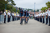 Team Ineos Grenadiers at the pre Tour teams presentation of the 108th Tour de France 2021 in Brest at le Grand Départ.